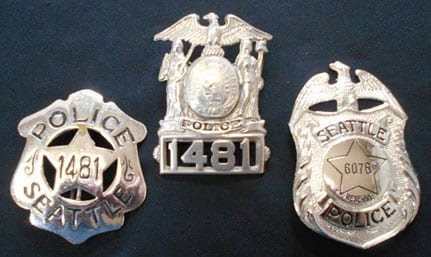 Badge display at the International Police Museum, Rockaway Beach, Oregon
