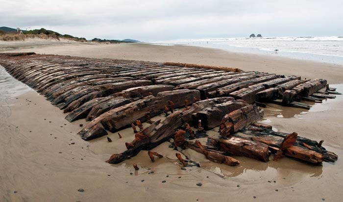 Remains of the Emily Reed Shipwreck, Rockaway Beach, Oregon