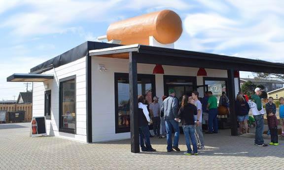 People ordering at Pronto Pup, Rockaway Beach