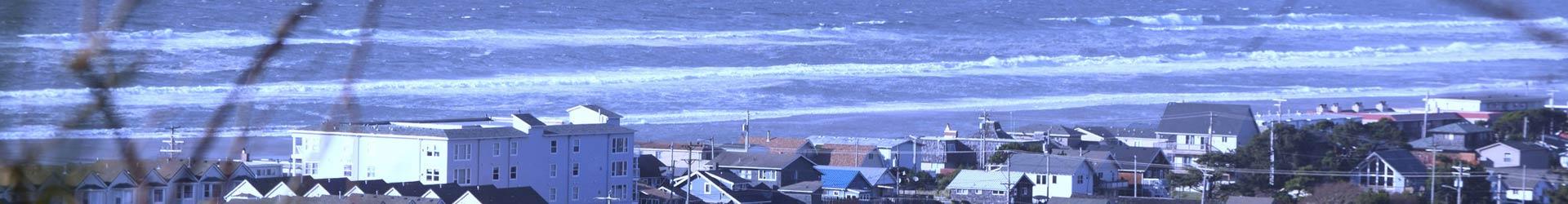 View of buildings and ocean, Rockaway Beach, Oregon