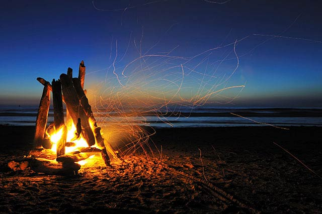 Bonfire at the beach, Rockaway Beach, Oregon