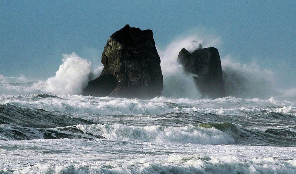 Waves crashing on Twin Rocks, Rockaway Beach, Oregon