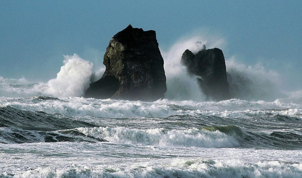Waves crashing on Twin Rocks, Rockaway Beach, Oregon