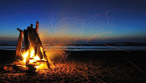 Campfire on Rockaway Beach, Oregon